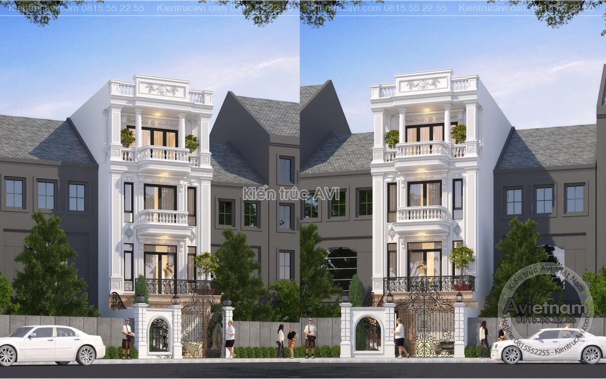 Mẫu thiết kế nhà phố kiến trúc Pháp mặt tiền 6m, KT21017