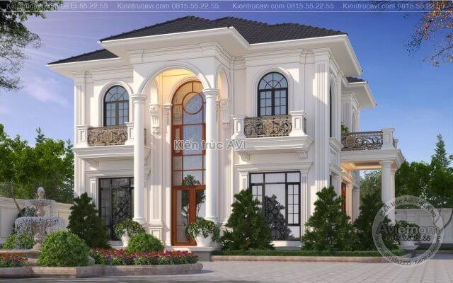 Lộ diện mẫu thiết kế biệt thự đẹp 2 tầng phong cách tân cổ điển KT21025