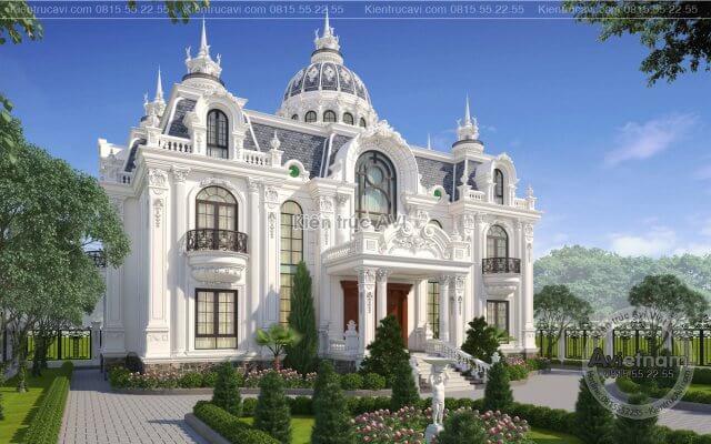 Mẫu thiết kế tòa biệt thự dinh thự cao cấp KT21015