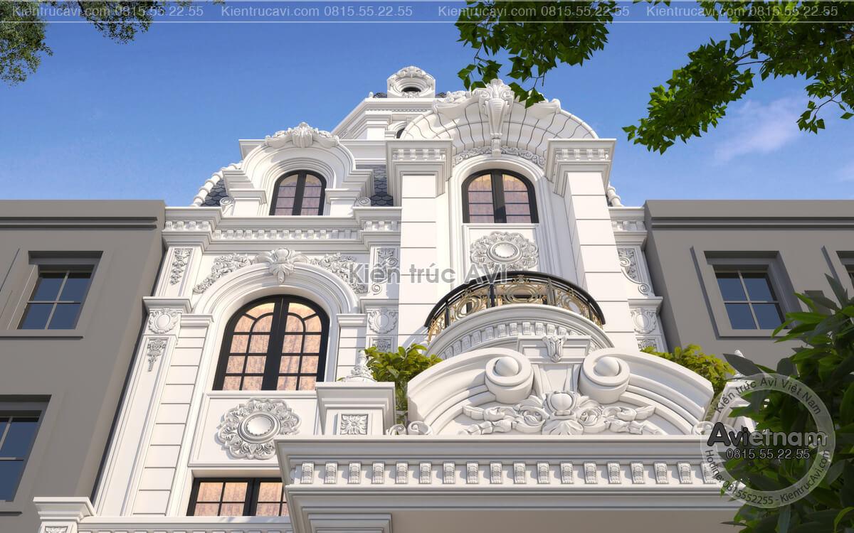 Mẫu thiết kế biệt thự 4 tầng tân cổ điển mặt tiền 8m, KT20068