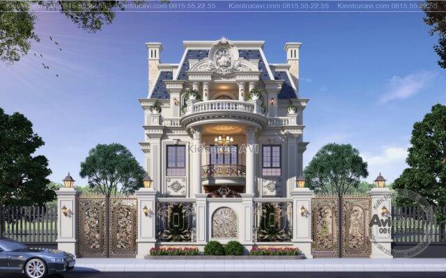 Mẫu biệt thự 3 tầng kiến trúc Pháp - đỉnh cao nghệ thuật kiến trúc KT21040