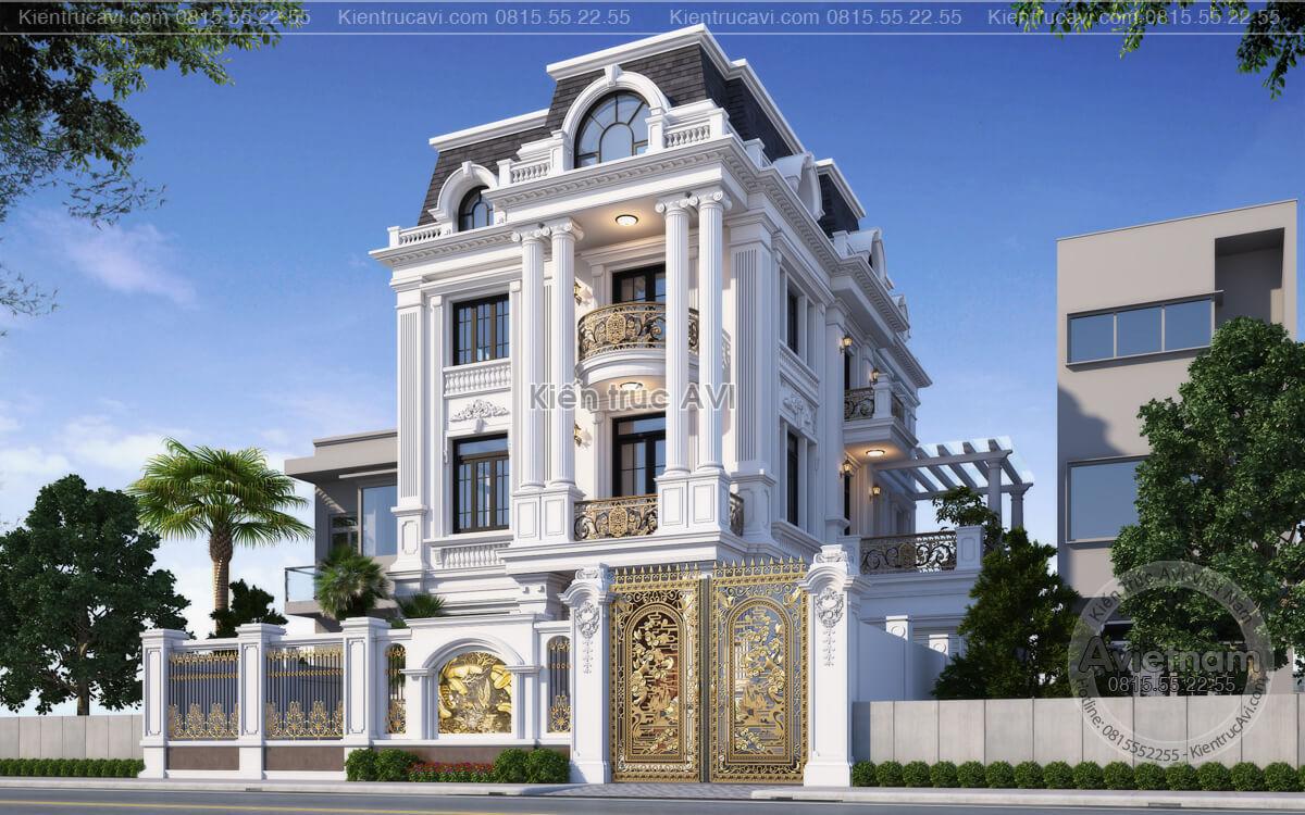 Chiêm ngưỡng mẫu biệt thự 3 tầng tân cổ điển cao cấp tại Hà Nội KT21029