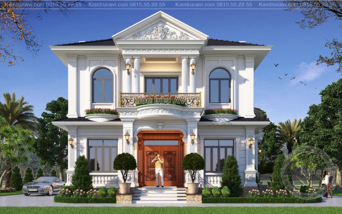 Mẫu biệt thự 2 tầng tân cổ điển đẹp 4 phòng ngủ tại Hà Nội KT21023