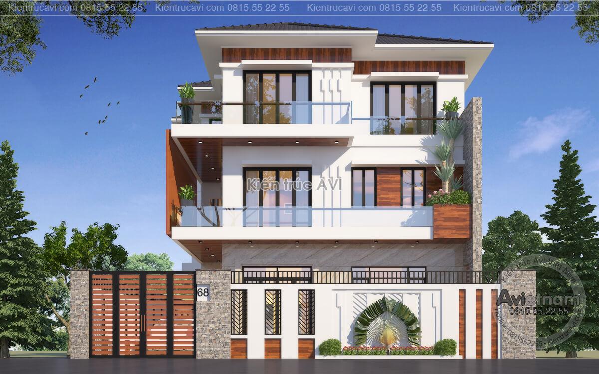 Mẫu thiết kế biệt thự 3 tầng hiện đại mái Thái KT21044