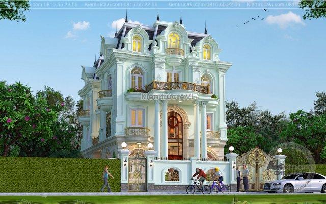 Kiến trúc mẫu biệt thự 3 tầng tân cổ điển siêu hút mắt KT21045