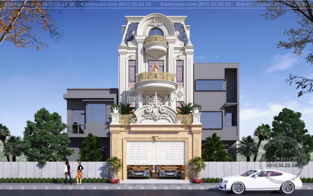 Mẫu thiết kế nhà biệt thự 3 tầng tân cổ điển KT21031