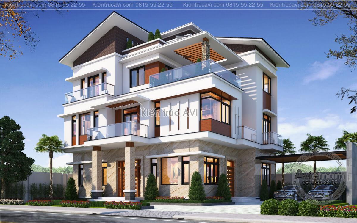 Mẫu thiết kế biệt thự 3 tầng hiện đại mái Nhật KT21027