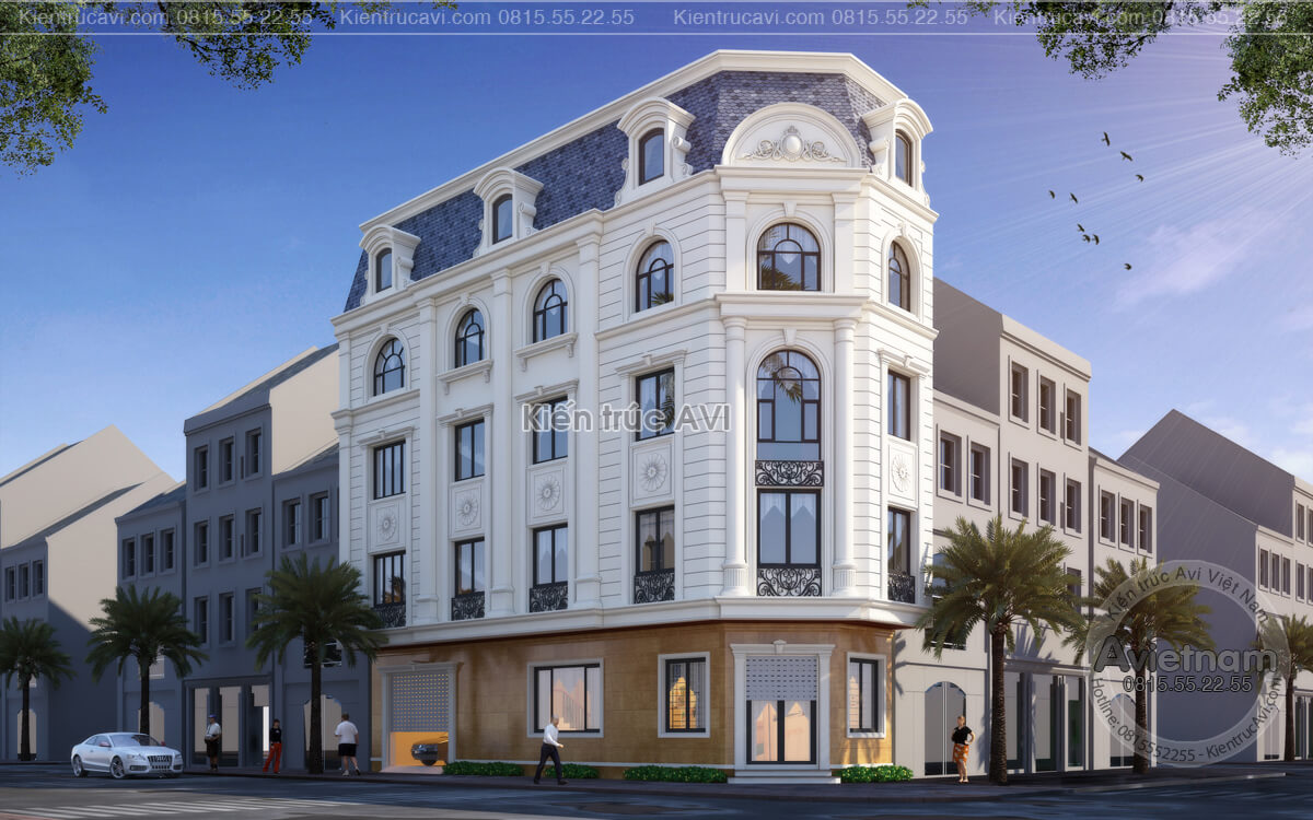 Thiết kế kiến trúc nhà góc phố tân cổ điển tại Bắc Ninh KT21048
