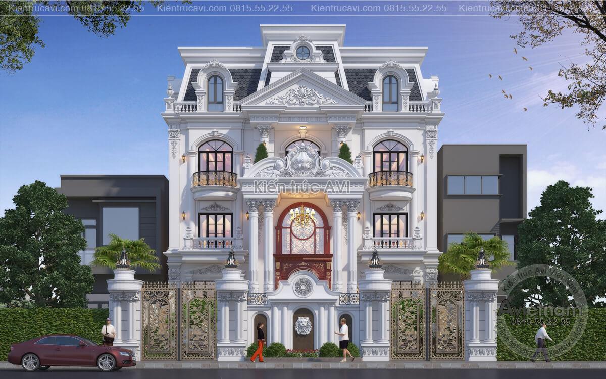 Chi tiết mẫu thiết kế biệt thự 3 tầng kiến trúc Pháp KT21050
